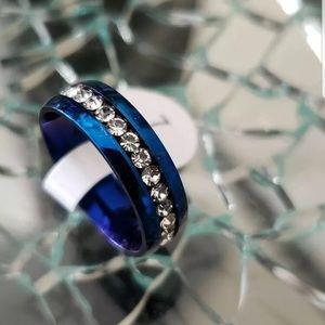 New 8MM Men Women Ring Stainless Steel Blue Sz